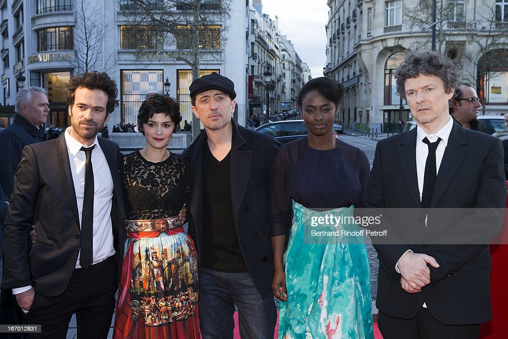 Actors Romain Duris, Audrey Tautou, Gad Elmaleh, Aissa Maiga and director Michel Gondry pose upon their arrival to the premiere of Gondry's film 'L'Ecume Des Jours' at Cinema UGC Normandie on April 19, 2013 in Paris, France.