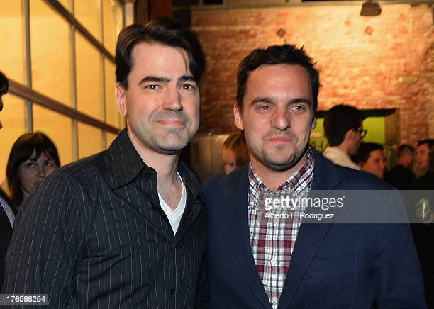 Actors Ron Livingston and Jake Johnson attend the after party for a screening of Magnolia Pictures' 'Drinking Buddies' at Umami Burger Hollywood on...