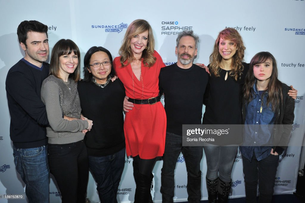Actors Ron Livingston and Rosemarie DeWitt, actor/musician Tomo Nakayama, actors Allison Janney and Josh Pais, director Lynn Shelton, and actress Ellen Page attend the Premiere Party presented by Chase Sapphire at The Shop during the 2013 Sundance Film Festival on January 19, 2013 in Park City, Utah.
