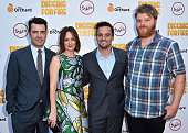 Actors Ron Livingston Rosemarie DeWitt Jake Johnson and Steve Berg attend the premiere of 'Digging for Fire' at The ArcLight Cinemas on August 13...