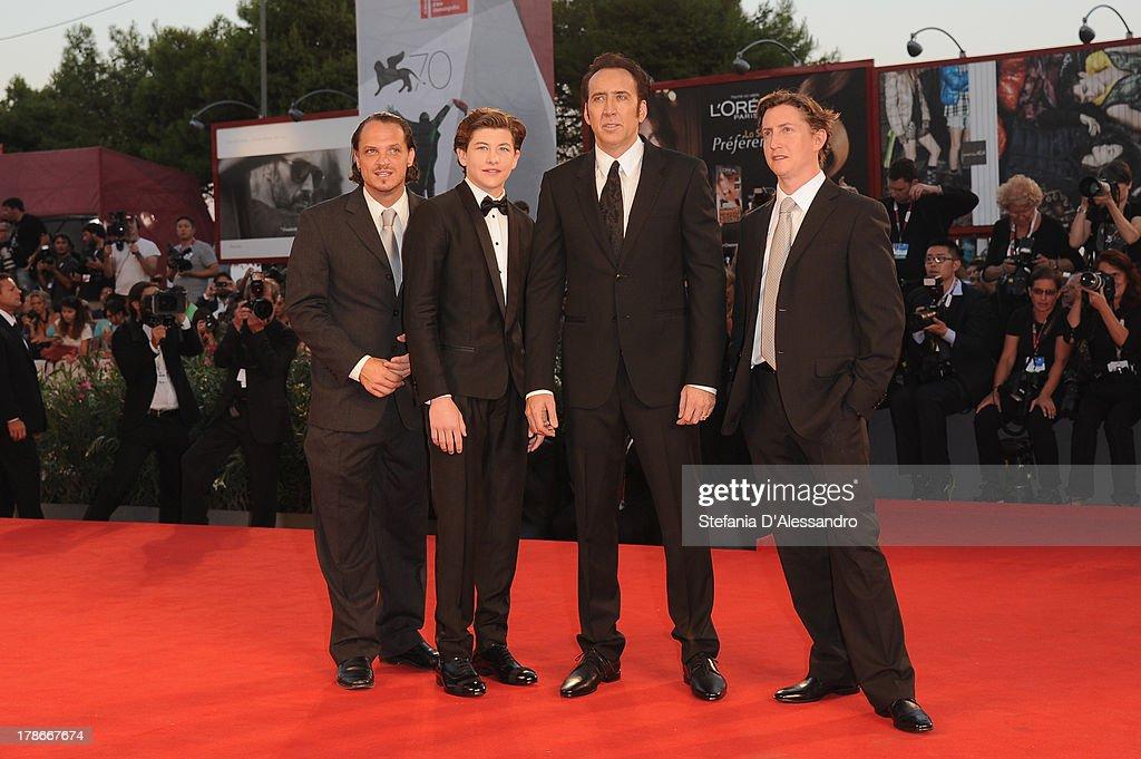 Actors Ronie Gene Blevins Tye Sheridan Nicolas Cage and Director David Gordon Green attend 'Joe' Premiere during The 70th Venice International Film...