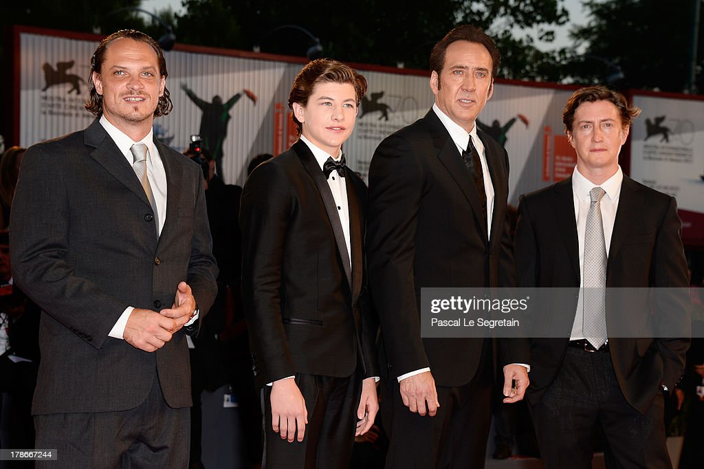 Actors Ronnie Blevins Tye Sheridan Nicolas Cage and director David Gordon Green attend the 'Joe' Premiere during The 70th Venice International Film...