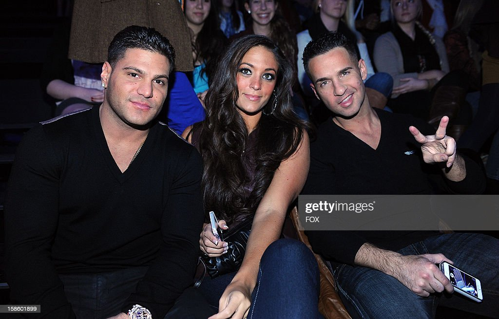 Actors Ronnie Ortiz-Magro, Sammi Giancola and Michael Sorrentino in the audience at FOX's 'The X Factor' Season 2 Top 3 Live Performance Show on December 19, 2012 in Hollywood, California.
