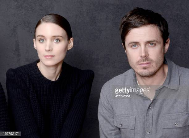 Actors Rooney Mara and Casey Affleck pose for a portrait during the 2013 Sundance Film Festival at the WireImage Portrait Studio at Village At The...