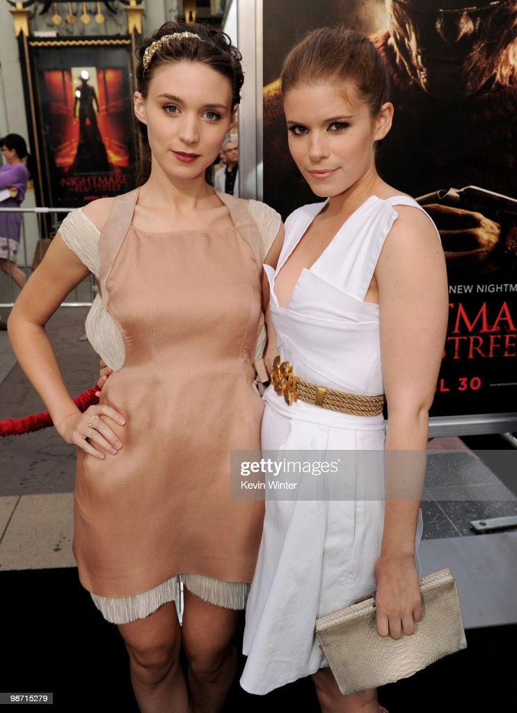 Actors <a gi-track='captionPersonalityLinkClicked' href=/galleries/search?phrase=Rooney+Mara&family=editorial&specificpeople=5669181 ng-click='$event.stopPropagation()'>Rooney Mara</a> (L) and her sister <a gi-track='captionPersonalityLinkClicked' href=/galleries/search?phrase=Kate+Mara&family=editorial&specificpeople=544680 ng-click='$event.stopPropagation()'>Kate Mara</a> pose at the premiere of New Line's 'A Nightmare on Elm Street' at the Chinese Theater on April 27, 2010 in Los Angeles, California.