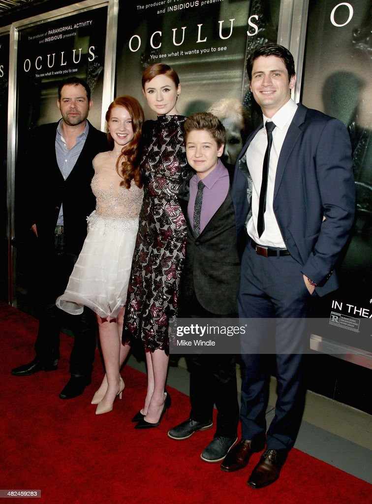 Actors <a gi-track='captionPersonalityLinkClicked' href=/galleries/search?phrase=Rory+Cochrane&family=editorial&specificpeople=210494 ng-click='$event.stopPropagation()'>Rory Cochrane</a>, <a gi-track='captionPersonalityLinkClicked' href=/galleries/search?phrase=Annalise+Basso&family=editorial&specificpeople=7435460 ng-click='$event.stopPropagation()'>Annalise Basso</a>, <a gi-track='captionPersonalityLinkClicked' href=/galleries/search?phrase=Karen+Gillan&family=editorial&specificpeople=6876471 ng-click='$event.stopPropagation()'>Karen Gillan</a>, <a gi-track='captionPersonalityLinkClicked' href=/galleries/search?phrase=Garrett+Ryan&family=editorial&specificpeople=7830256 ng-click='$event.stopPropagation()'>Garrett Ryan</a> and <a gi-track='captionPersonalityLinkClicked' href=/galleries/search?phrase=James+Lafferty&family=editorial&specificpeople=214146 ng-click='$event.stopPropagation()'>James Lafferty</a> arrive at the screening of Relativity Media's 'Oculus' at TCL Chinese 6 Theatres on April 3, 2014 in Hollywood, California.