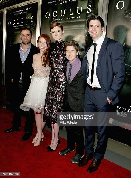 Actors Rory Cochrane Annalise Basso Karen Gillan Garrett Ryan and James Lafferty arrive at the screening of Relativity Media's 'Oculus' at TCL...