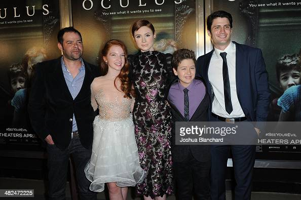 Actors Rory Cochrane Annalise Basso Karen Gillan Garrett Ryan and James Lafferty arrive at the Los Angeles premiere of 'Oculus' at TLC Chinese 6...