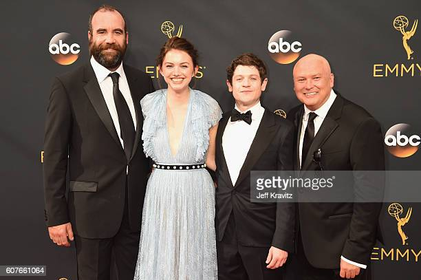 Actors Rory McCann Hannah Murray Iwan Rheon and Conleth Hill attend the 68th Annual Primetime Emmy Awards at Microsoft Theater on September 18 2016...