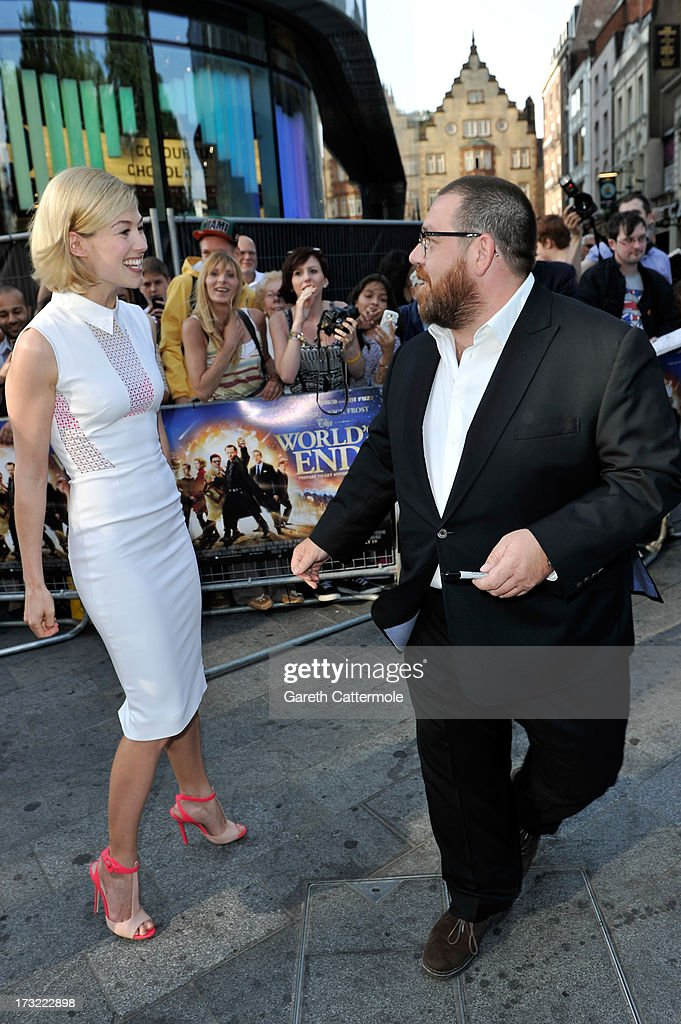 Actors Rosamund Pike and Nick Frost attend the World Premiere of The World's End at Empire Leicester Square on July 10, 2013 in London, England.