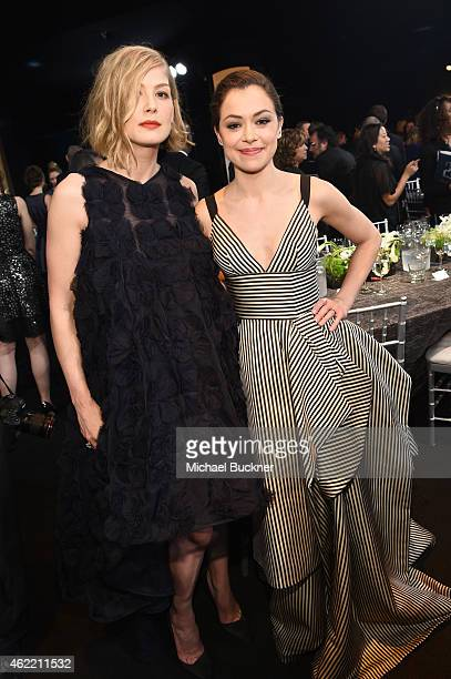 Actors Rosamund Pike and Tatiana Maslany attend TNT's 21st Annual Screen Actors Guild Awards at The Shrine Auditorium on January 25 2015 in Los...