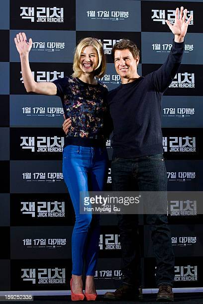 Actors Rosamund Pike and Tom Cruise attend the 'Jack Reacher' press conference at Conrad Hotel on January 10 2013 in Seoul South Korea The film will...