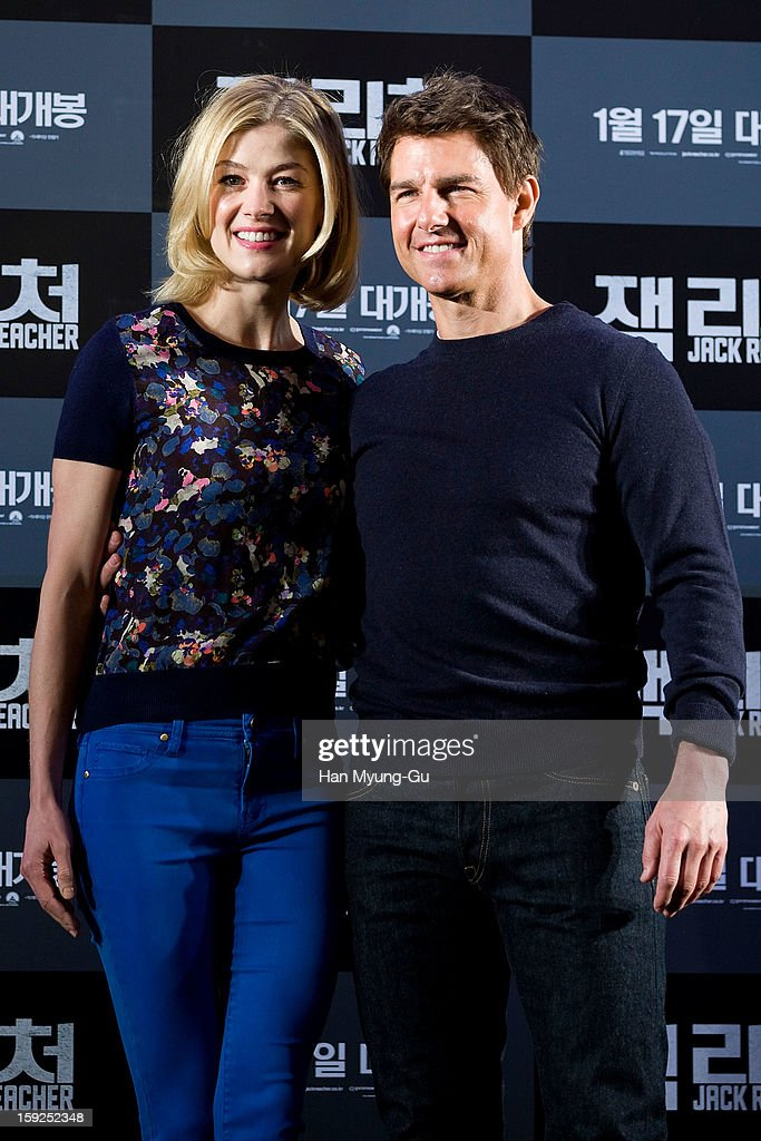 Actors <a gi-track='captionPersonalityLinkClicked' href=/galleries/search?phrase=Rosamund+Pike&family=editorial&specificpeople=208910 ng-click='$event.stopPropagation()'>Rosamund Pike</a> and <a gi-track='captionPersonalityLinkClicked' href=/galleries/search?phrase=Tom+Cruise&family=editorial&specificpeople=156405 ng-click='$event.stopPropagation()'>Tom Cruise</a> attend the 'Jack Reacher' press conference at Conrad Hotel on January 10, 2013 in Seoul, South Korea. The film will open on January 17 in South Korea.