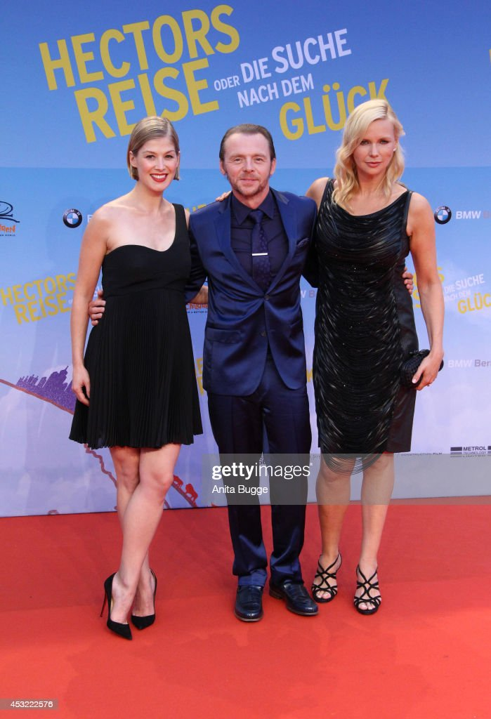 Actors <a gi-track='captionPersonalityLinkClicked' href=/galleries/search?phrase=Rosamund+Pike&family=editorial&specificpeople=208910 ng-click='$event.stopPropagation()'>Rosamund Pike</a>, <a gi-track='captionPersonalityLinkClicked' href=/galleries/search?phrase=Simon+Pegg&family=editorial&specificpeople=206280 ng-click='$event.stopPropagation()'>Simon Pegg</a> and <a gi-track='captionPersonalityLinkClicked' href=/galleries/search?phrase=Veronica+Ferres&family=editorial&specificpeople=207167 ng-click='$event.stopPropagation()'>Veronica Ferres</a> attend the premiere of the film 'Hector and the Search for Happiness' (German title: 'Hectors Reise') at Zoo Palast on August 5, 2014 in Berlin, Germany.