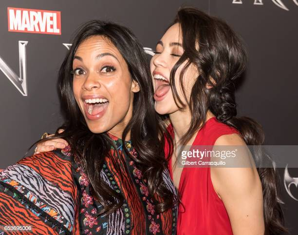 Actors Rosario Dawson and Jessica Henwick attend Marvel's 'Iron Fist' New York Screening at AMC Empire 25 on March 15 2017 in New York City