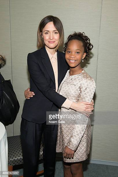 Actors Rose Byrne and Quvenzhane Wallis pose backstage at the United Nations 2014 Women's Entrepreneurship Day at United Nations on November 19 2014...