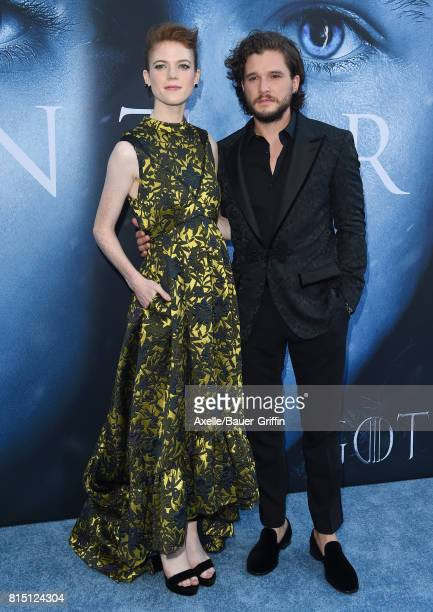 Actors Rose Leslie and Kit Harington arrive at the premiere of HBO's 'Game Of Thrones' Season 7 at Walt Disney Concert Hall on July 12 2017 in Los...