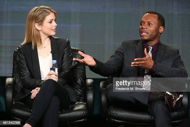 Actors Rose McIver and Malcolm Goodwin speak onstage during the 'iZombie' panel as part of The CW 2015 Winter Television Critics Association press...