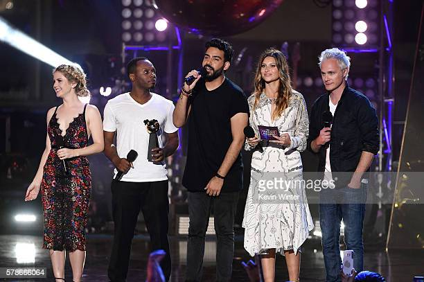 Actors Rose McIver Malcom Goodwin Rahul Kohlie Aly Michalka and David Anders speak on stage at the MTV Fandom Awards San Diego at PETCO Park on July...