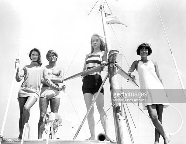 Actors Rosemary Dexter Doris Kunstmann Bernard De Vries and Laura Troschel on set of the movie 'The Sex of Angels' circa 1968
