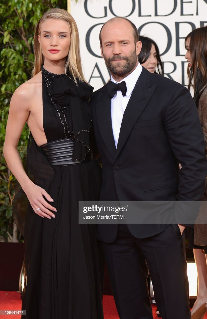 Actors Rosie Huntington-Whiteley and Jason Statham arrive at the 70th Annual Golden Globe Awards held at The Beverly Hilton Hotel on January 13, 2013 in Beverly Hills, California.