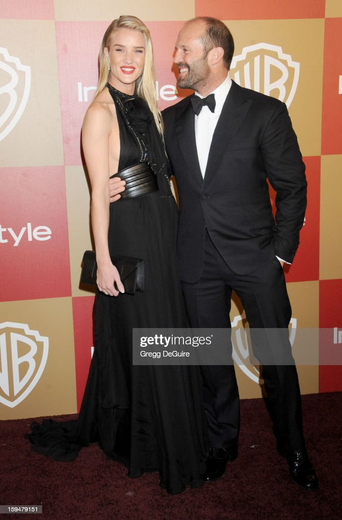 Actors Rosie Huntington-Whiteley and Jason Statham arrive at the InStyle and Warner Bros. Golden Globe party at The Beverly Hilton Hotel on January 13, 2013 in Beverly Hills, California.