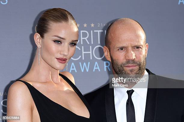 Actors Rosie HuntingtonWhiteley and Jason Statham attend the 21st Annual Critics' Choice Awards at Barker Hangar on January 17 2016 in Santa Monica...