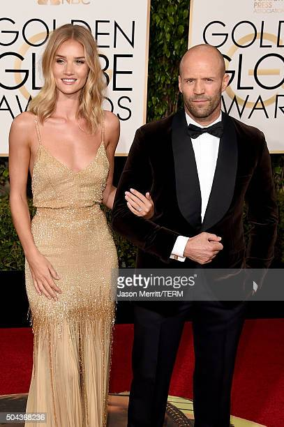 Actors Rosie HuntingtonWhiteley and Jason Statham attend the 73rd Annual Golden Globe Awards held at the Beverly Hilton Hotel on January 10 2016 in...