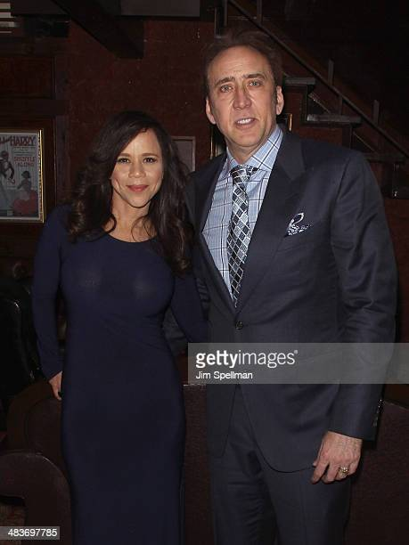 Actors Rosie Perez and Nicolas Cage attend the Lionsgate Roadside Attractions with The Cinema Society premiere of 'Joe' after party at Chalk Point...