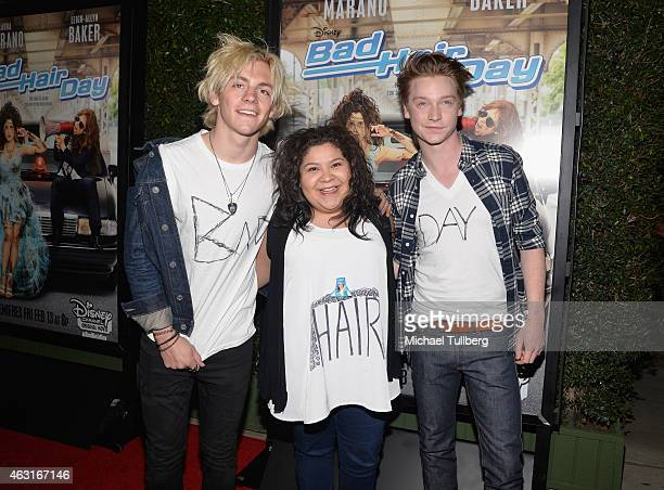 Actors Ross Lynch Raini Rodriguez and Calum Worthy attend the Los Angeles premiere of the Disney Channel Original Movie 'Bad Hair Day' at Walt Disney...