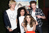 Actors Ross Lynch Raini Rodriguez Calum Worthy and Laura Marano attend the Disney Channel Original Movie 'Bad Hair Day' Los Angeles premiere held at...