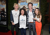 Actors Ross Lynch Raini Rodriguez Calum Worthy and Laura Marano attend the Los Angeles premiere of the Disney Channel Original Movie 'Bad Hair Day'...