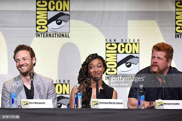 Actors Ross Marquand Sonequa MartinGreen and Michael Cudlitz attend AMC's 'The Walking Dead' panel during ComicCon International 2016 at San Diego...