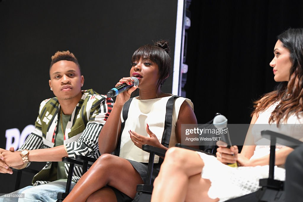 Actors <a gi-track='captionPersonalityLinkClicked' href=/galleries/search?phrase=Rotimi&family=editorial&specificpeople=4249959 ng-click='$event.stopPropagation()'>Rotimi</a> Akinosho, <a gi-track='captionPersonalityLinkClicked' href=/galleries/search?phrase=Naturi+Naughton&family=editorial&specificpeople=2559512 ng-click='$event.stopPropagation()'>Naturi Naughton</a> and <a gi-track='captionPersonalityLinkClicked' href=/galleries/search?phrase=Lela+Loren&family=editorial&specificpeople=4697443 ng-click='$event.stopPropagation()'>Lela Loren</a> attend the Fashion & Beauty TOAST TO SUCCESS PANEL & Meet and Greet presented by Korbel during the 2016 BET Experience on June 25, 2016 in Los Angeles, California.