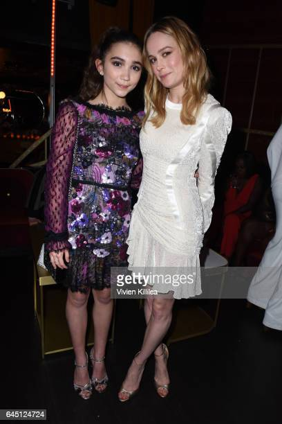 Actors Rowan Blanchard and Brie Larson attend the tenth annual Women in Film PreOscar Cocktail Party presented by Max Mara and BMW at Nightingale...