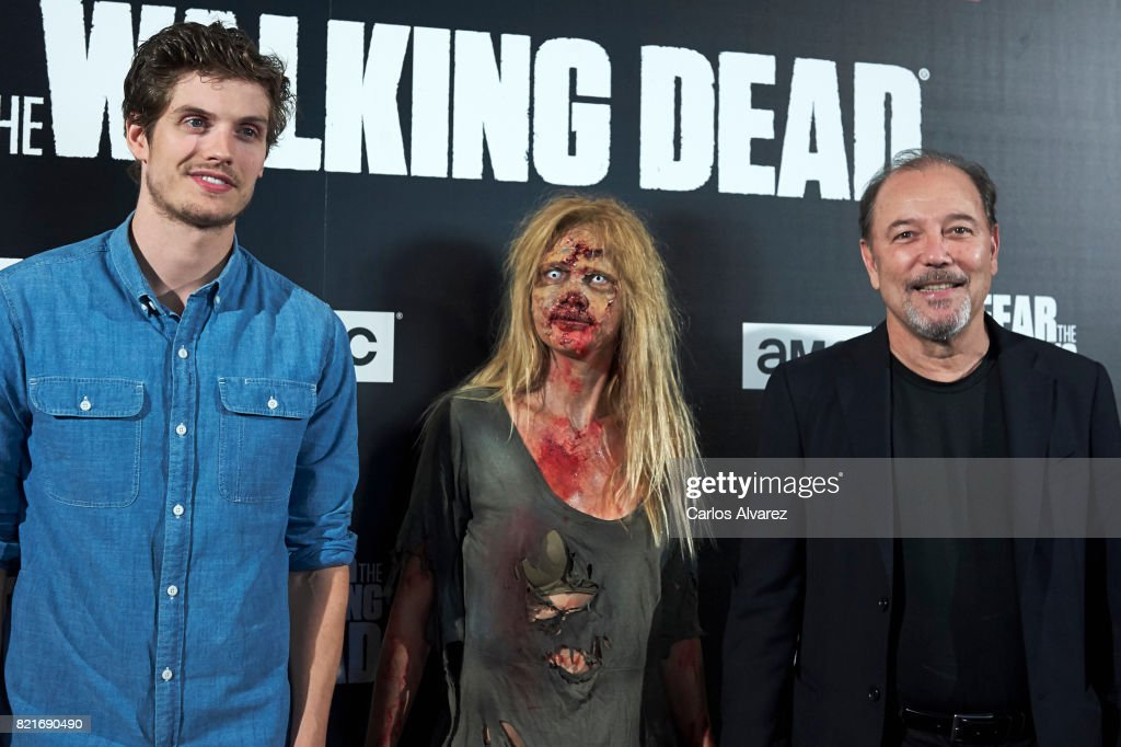 Actors Ruben Blades (R) and Daniel Sharman (L) attend 'Fear The Walking Dead' fan event at the Callao cinema on July 24, 2017 in Madrid, Spain.