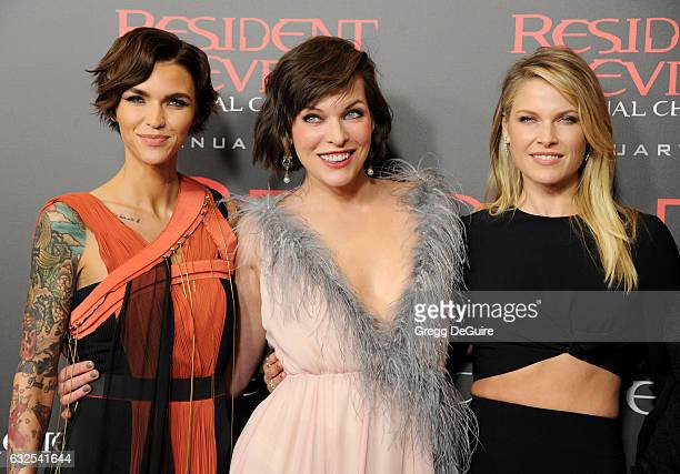 Actors Ruby Rose Milla Jovovich and Ali Larter arrive at the premiere of Sony Pictures Releasing's 'Resident Evil The Final Chapter' at Regal LA Live...