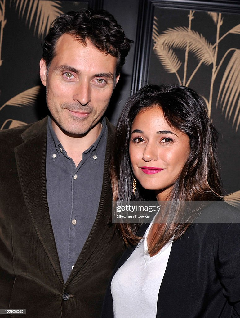 Actors <a gi-track='captionPersonalityLinkClicked' href=/galleries/search?phrase=Rufus+Sewell&family=editorial&specificpeople=558279 ng-click='$event.stopPropagation()'>Rufus Sewell</a> and <a gi-track='captionPersonalityLinkClicked' href=/galleries/search?phrase=Emmanuelle+Chriqui&family=editorial&specificpeople=541098 ng-click='$event.stopPropagation()'>Emmanuelle Chriqui</a> attend the after party for a screening Of 'Hotel Noir' hosted by The Cinema Society and Gato Negro Films at No. 8 on November 9, 2012 in New York City.