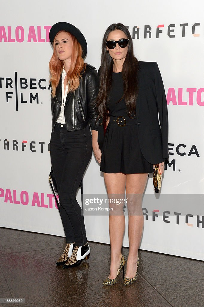 Actors <a gi-track='captionPersonalityLinkClicked' href=/galleries/search?phrase=Rumer+Willis&family=editorial&specificpeople=617003 ng-click='$event.stopPropagation()'>Rumer Willis</a> and <a gi-track='captionPersonalityLinkClicked' href=/galleries/search?phrase=Demi+Moore&family=editorial&specificpeople=202121 ng-click='$event.stopPropagation()'>Demi Moore</a> attend the premiere of Tribeca Film's 'Palo Alto' at Directors Guild Of America on May 5, 2014 in Los Angeles, California.