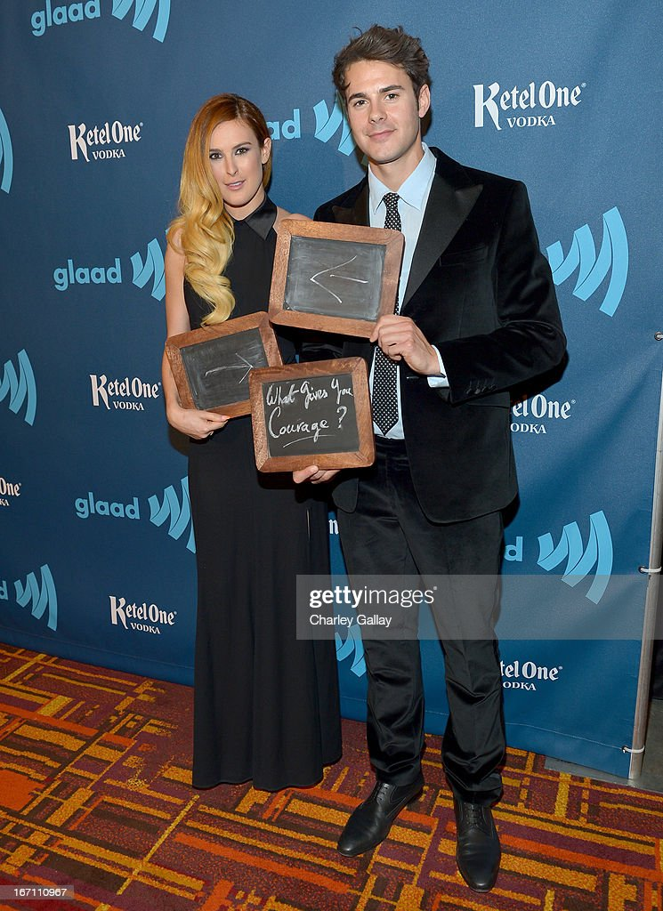 Actors <a gi-track='captionPersonalityLinkClicked' href=/galleries/search?phrase=Rumer+Willis&family=editorial&specificpeople=617003 ng-click='$event.stopPropagation()'>Rumer Willis</a> and Jayson Blair pose in the VIP Red Carpet Suite at the 24th Annual GLAAD Media Awards hosted by Ketel One at JW Marriott Los Angeles at L.A. LIVE on April 20, 2013 in Los Angeles, California.