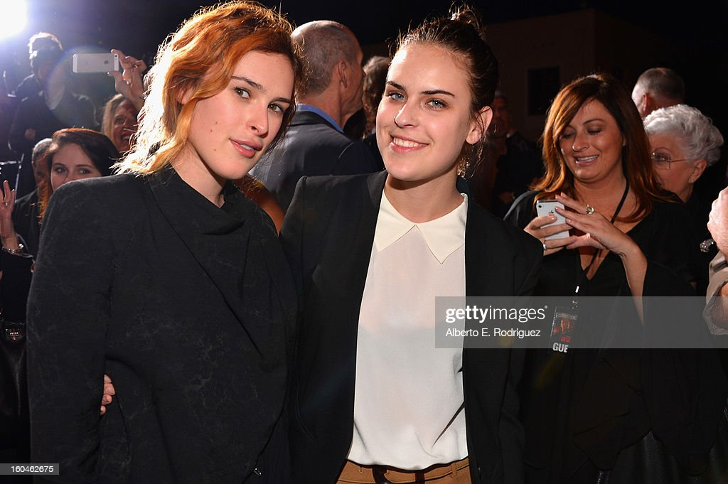 Actors <a gi-track='captionPersonalityLinkClicked' href=/galleries/search?phrase=Rumer+Willis&family=editorial&specificpeople=617003 ng-click='$event.stopPropagation()'>Rumer Willis</a> and Tallulah Willis attend the dedication and unveiling of a new soundstage mural celebrating 25 years of 'Die Hard' at Fox Studio Lot on January 31, 2013 in Century City, California.