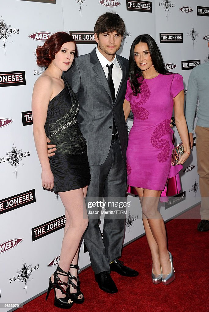 Actors Rumer Willis Ashton Kutcher and Demi Moore arrive at Roadside Attractions Echo Lake Entertainment's premiere of 'The Joneses' held at Arclight...