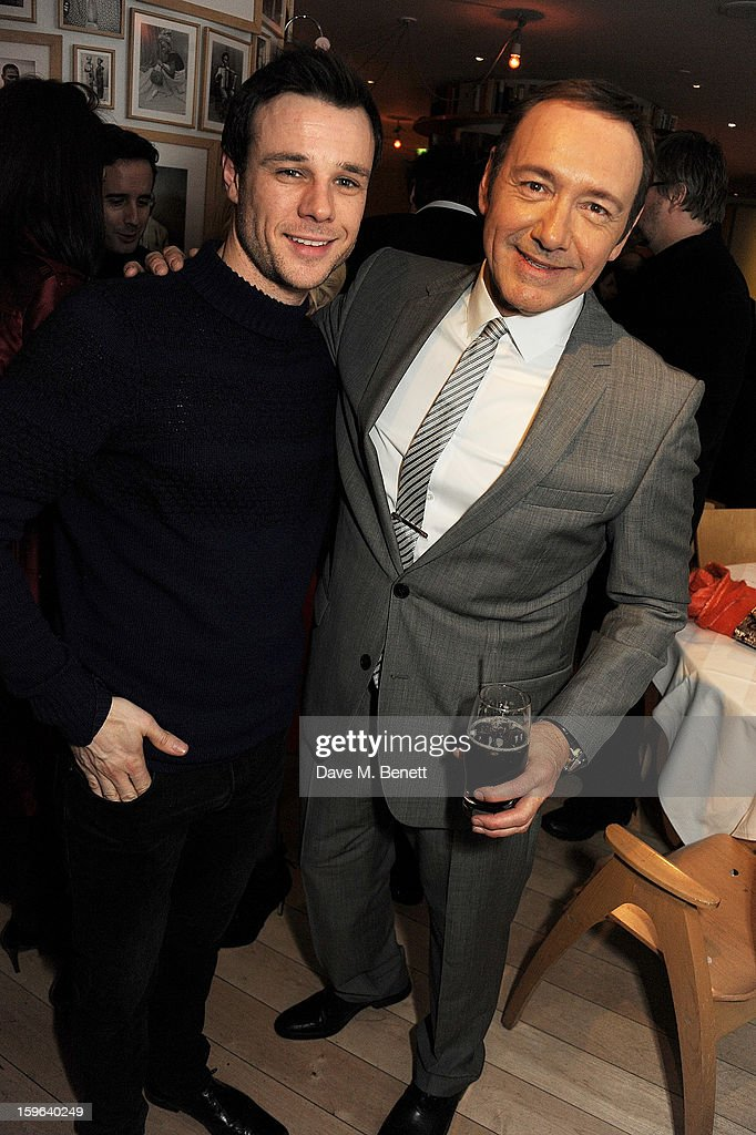 Actors Rupert Evans (L) and <a gi-track='captionPersonalityLinkClicked' href=/galleries/search?phrase=Kevin+Spacey&family=editorial&specificpeople=202091 ng-click='$event.stopPropagation()'>Kevin Spacey</a> attend an after party celebrating the Red Carpet Premiere of the Netflix original series 'House of Cards' at Asia de Cuba, St Martins Lane Hotel, on January 17, 2013 in London, England.