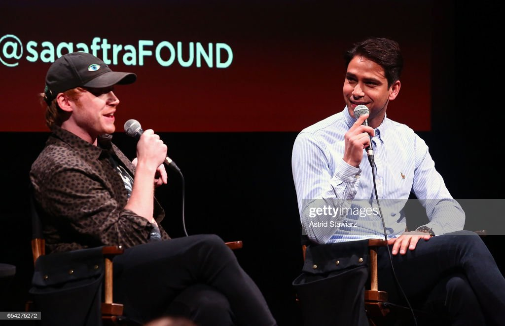 Actors Rupert Grint and Luke Pasqualino speak during the SAG-AFTRA foundation conversation for 'Snatch' at the Robin Williams Center on March 16, 2017 in New York City.