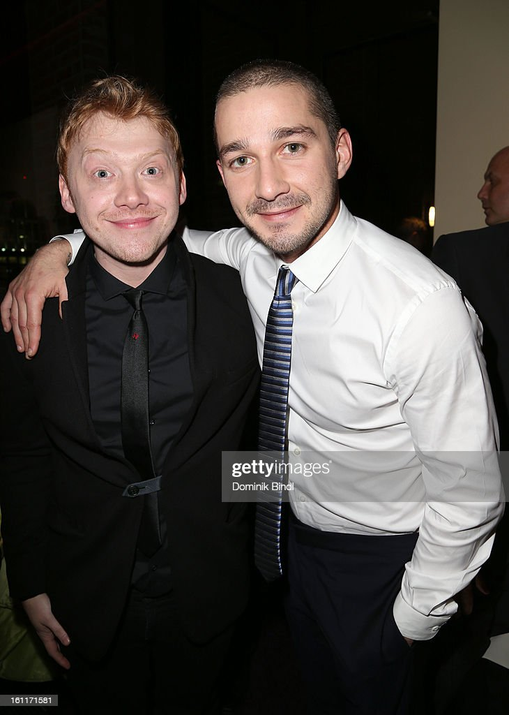 Actors <a gi-track='captionPersonalityLinkClicked' href=/galleries/search?phrase=Rupert+Grint&family=editorial&specificpeople=206605 ng-click='$event.stopPropagation()'>Rupert Grint</a> and Shia LeBeouf attend 'The Necessary Death Of Charlie Countryman' Reception during the 63rd Berlinale International Film Festival at the Glashuette Lounge on February 9, 2013 in Berlin, Germany.