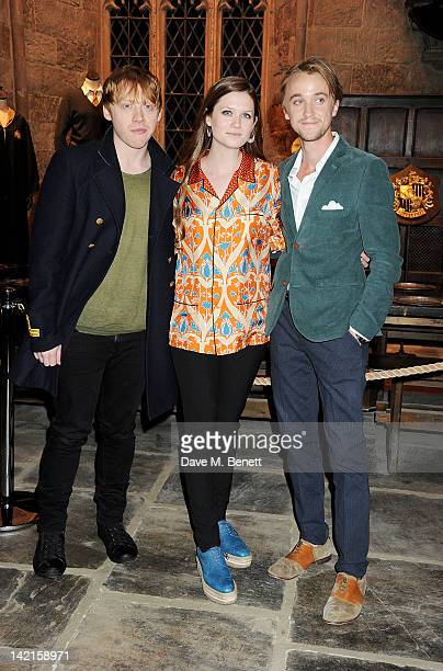 Actors Rupert Grint Bonnie Wright and Tom Felton attend the Grand Opening of the Warner Bros Studio Tour London The Making of Harry Potter on March...