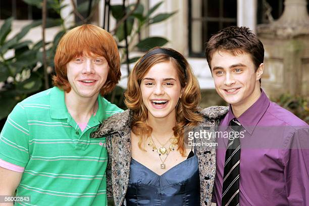 Actors Rupert Grint Emma Watson and Daniel Radcliffe attend the photocall for the latest Harry Potter film 'Harry Potter And The Goblet of Fire' at...