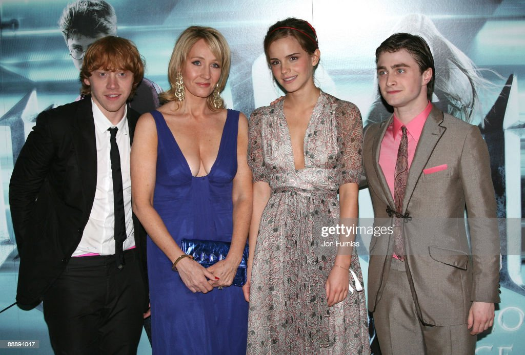 Actors Rupert Grint, <a gi-track='captionPersonalityLinkClicked' href=/galleries/search?phrase=Emma+Watson&family=editorial&specificpeople=171373 ng-click='$event.stopPropagation()'>Emma Watson</a> and Daniel Radcliffe with author JK Rowling (second left) as they attend the 'Harry Potter and the Half-Blood Prince' film premiere at the Odeon Leicester Square on July 7, 2009 in London, England.