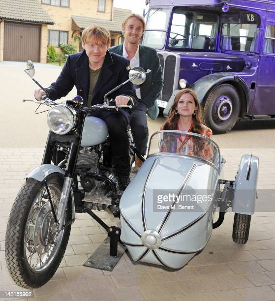 Actors Rupert Grint Tom Felton and Bonnie Wright attend the Grand Opening of the Warner Bros Studio Tour London The Making of Harry Potter on March...