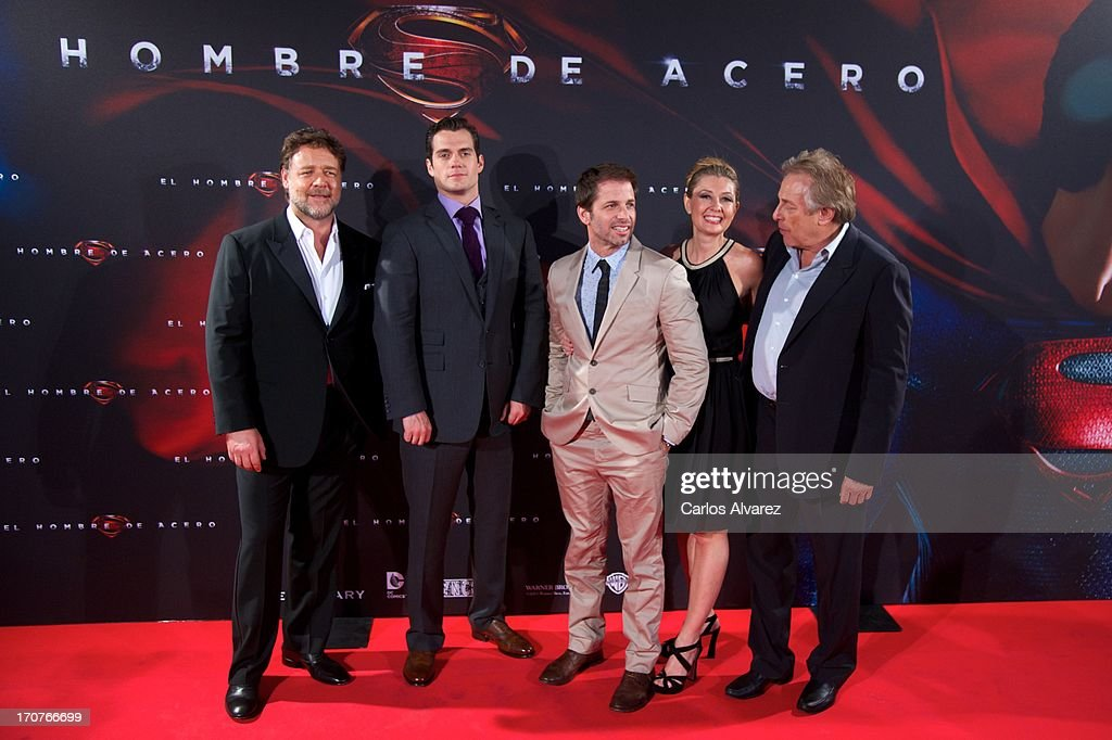 Actors Rusell Crowe, Herny Cavill, director Zack Snyder, his wife producer Deborah Snyder and producer Charles Roven attend the 'Man of Steel' (El Hombre de Acero) premiere at the Capitol cinema on June 17, 2013 in Madrid, Spain.